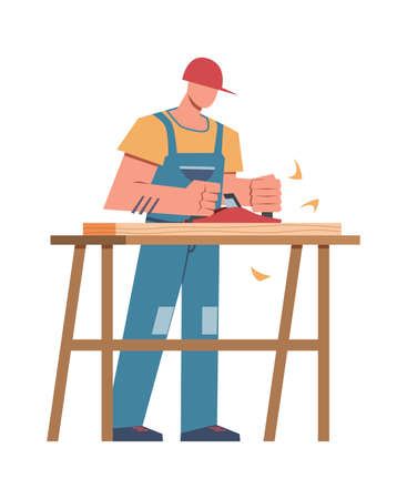 Builder and professional equipment. Carpenter with sawing board making wooden cabinet, home renovation or carpentry house repairing flat vector male character
