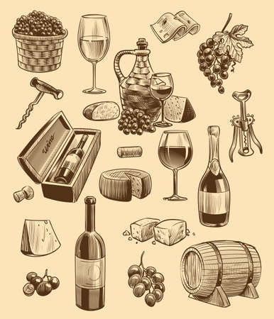 Hand drawn wine set. Engraving images of bottle and wineglasses, bunch of grapes with leaves and sliced cheese, corkscrew and wooden barrel, vector sketch style collection for restaurant or cafe menu