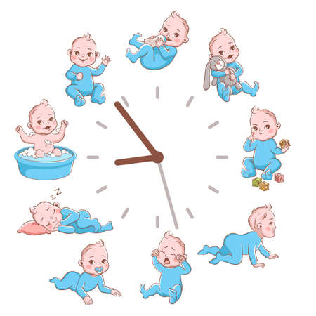 Daily kids routine clocks. Newborn children schedule concept, cute cartoon baby poster, infant blond smiling toddler in blue clothes in different poses vector illustration isolated on white background