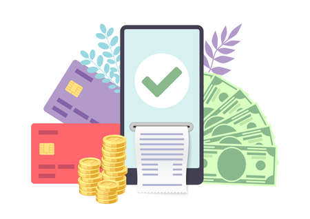 Online card payment concept. Smartphone with credit cards, cash and coins, success transaction on device screen, online banking electronic bill template for money transfer vector flat illustration Illusztráció