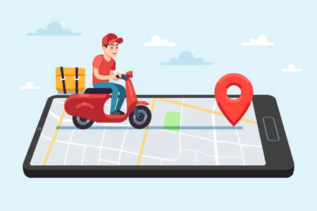 Online food delivery service. Motorcyclist courier on moped with box on smartphone with city map on device screen, male character rides to client, shipping parcel flat vector young cartoon concept