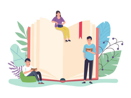 Reading book concept. Huge open textbook and tiny people reading books, e-learning and library, distance studying and self education, smart woman and men learning flat vector cartoon illustration Illusztráció