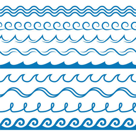 Wave frames. Seamless marine wavy pattern, blue line ornament, sea and ocean surf decorative border, curved swirls water silhouettes creative design textile wrapping, wallpaper vector texture on white Illusztráció