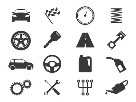 Auto icons. Black vehicle silhouettes, auto diagnostic service and garage, gas station and transmission, car race flag, road and gears, speedometer vector signs isolated on white background