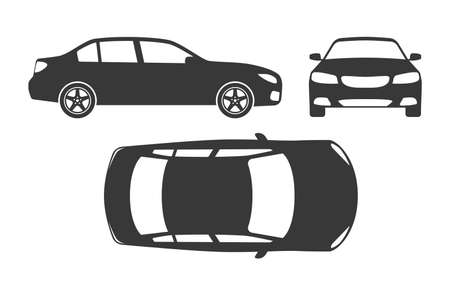 Car silhouette. Automobile top, side and front view. Vehicle projection monochrome mockup, regular sedan auto for family, race or different services, vector black shape icons isolated set