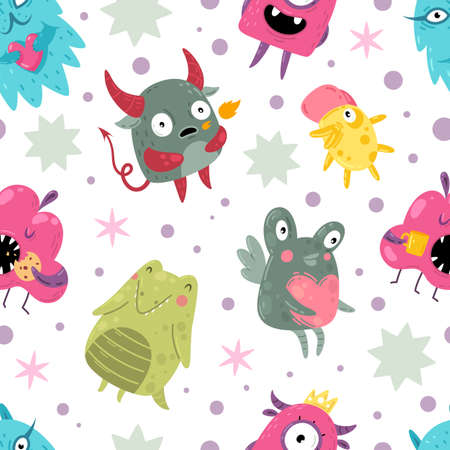 Monsters seamless pattern. Funny incredible creatures with smiles cute goofy faces characters, color mutants kids creative design textile, wrapping paper, wallpaper vector texture on white background