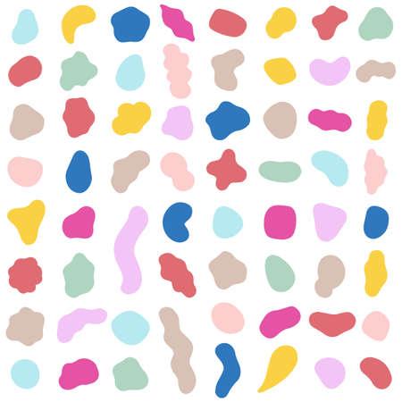 Organic shapes. Color various blotch, abstract irregular random blobs. Pebble stone silhouette, simple liquid amorphous splodge, colorful simple water forms, creative minimal pastel pattern vector set