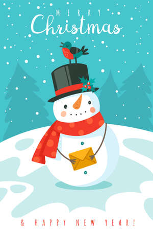 Snowman. Happy new year and merry christmas greeting card with cheerful snowman in hat and scarf and snowflakes, festive winter cartoon xmas cute character vector december holiday background