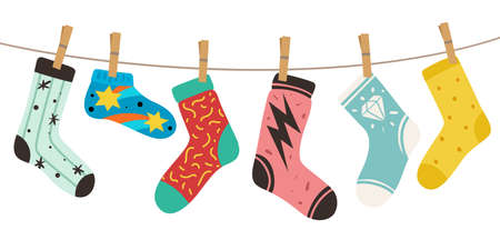 Socks on rope. Female, male and kids trendy fashion socks with color patterns. Stylish cotton and woolen long and short funny footwear vector colorful doodle modern concept of cute cozy accessories Illusztráció