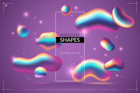 Fluid background. Liquid abstract metallic drops with iridescent gradient in purple colors, shape with rainbow 3d dynamic forms texture modern futuristic 80s vector bright poster, wallpaper or banner Illusztráció