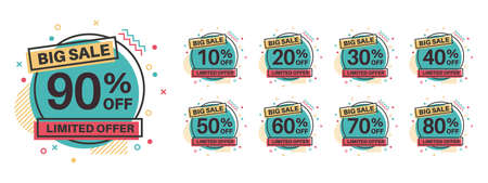 Sale tags. Discount badges 10, 20, 30, 40, 50, 60, 70, 80, 90 percent off. Retail price product sale labels, special offer circle stickers, marketing promotion emblems vector flat isolated template Illusztráció