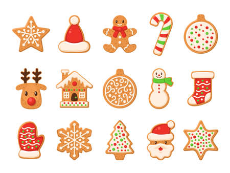 Gingerbread. Christmas gingerbreads santa and cane, xmas tree, ginger cake man, snowflake, snowman and sock, home and star homemade sweet sugar glaze cookie or biscuit winter food vector isolated set