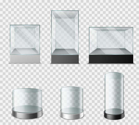 Glass showcase. Transparent plastic cube with glossy glare reflections, empty sphere cylinder for presentation product laboratory, museum and exhibition cases 3d vector set on transparent background