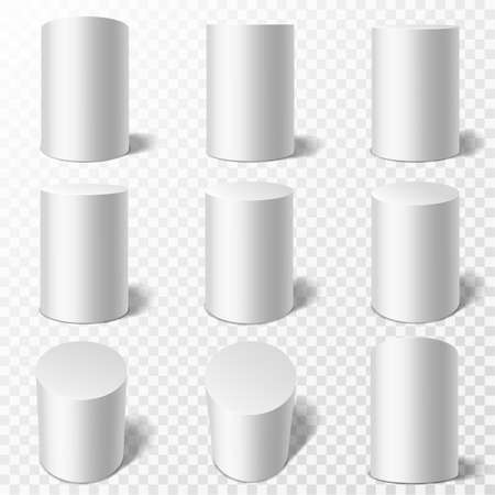 Cylinders. Realistic round white podiums in different viewpoints. Pedestals or cylinder pillars with shadow, geometric simple form collection 3d vector isolated on transparent background mockups set