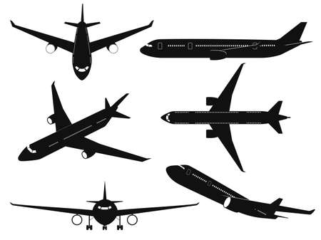 Airplane silhouettes. Passenger aircraft in different angles, flying plane top, side and front view. International transportation travel journey commercial aviation black planes vector isolated set Illusztráció