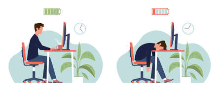 Burnout. Professional burnout syndrome, tired man manager with full and low energy battery working on computer in workplace, frustrated depressed office worker in stress vector flat cartoon concept Ilustração
