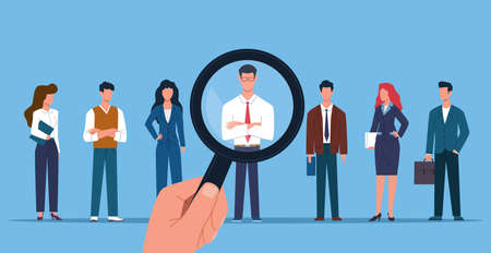 Human resource. Hand with magnifying glass chooses candidate from group, employee selection, recruitment team hiring workers, future success career choice process and competition vector flat concept