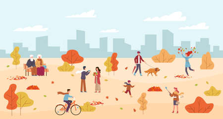 People in autumn park. Men and women walk in public park, rest on bench, child runs, characters with umbrella among yellow orange leaves, riding bicycle, walking with dog fall season vector background