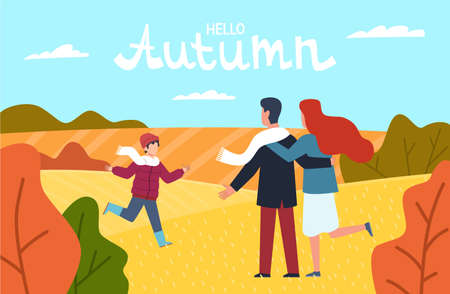 Hello autumn. Happy family in autumn park young parents mother father and son walking among red yellow trees with falling orange leaves fall landscape, greeting card with lettering vector background