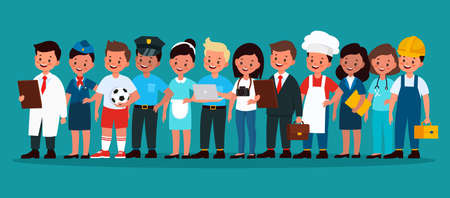 Kids professional group. Children football player, builder and policeman, stewardess, chef and doctor, programmer and photographer in uniform vector flat cartoon concept Illusztráció