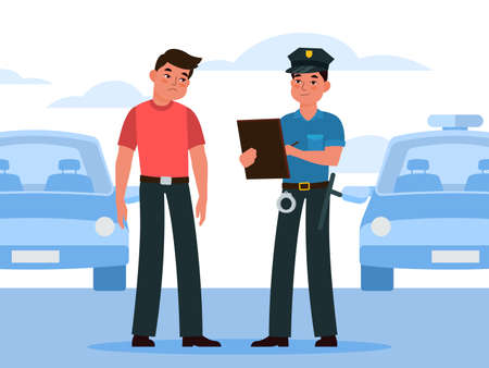 Policeman write fine. Police officer in uniform writing penalty to automobile driver intruder, violation on city road or parking, car inspector control safety traffic vector flat cartoon concept