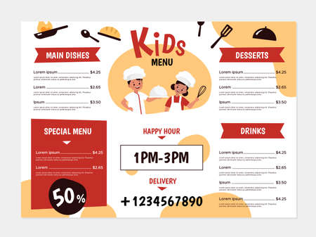 Kids menu. Young chefs and kitchenware, boys and girls cook tasty food, design for cafe or restaurant flyer, menus cover healthy lunch and dinner list vector bright simple cartoon template design