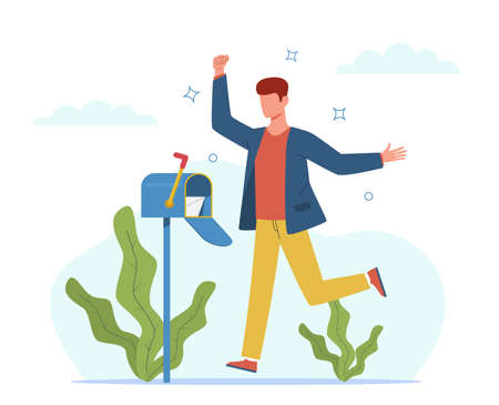 Man got letter. Happy guy near mailbox receiving mail, businessman with important letters envelope, correspondence and message sending express delivery post service cartoon vector flat cartoon concept