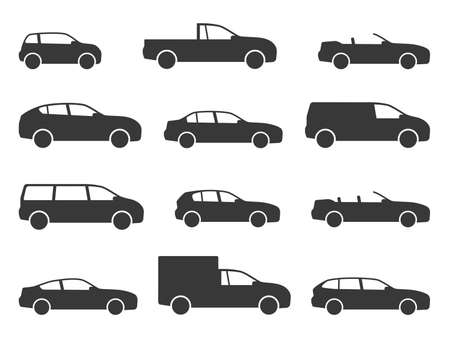 Car icons. Various black vehicle side view silhouettes, automobiles for travel, models auto sedan and hatchback, truck and pickup, minivan and cabriolet, transport shapes web signs vector isolated set