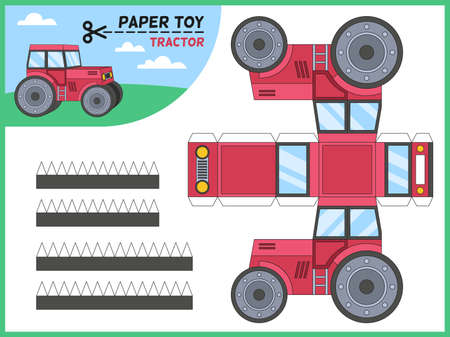 Tractor paper cut toy. Kids handmade educational game printable 3d paper model, worksheet with farm tractors elements for cutting, preschool crafts puzzle toy cartoon vector flat isolated illustration
