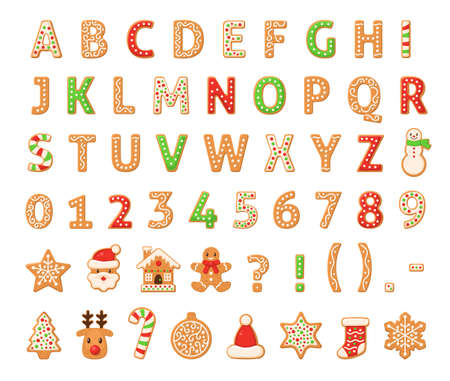 Gingerbread alphabet. Merry christmas and happy new year figures decorated sugar glazed english letters, numbers, abc homemade sweet traditional cookies winter holiday food vector isolated set