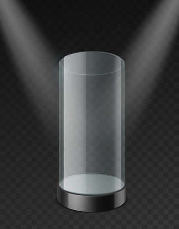 Glass cylinder showcase. Clear plastic empty case with tray under spotlights realistic mockup. Museum expo stand for presentation product and exhibition 3d vector template on transparent background Illusztráció