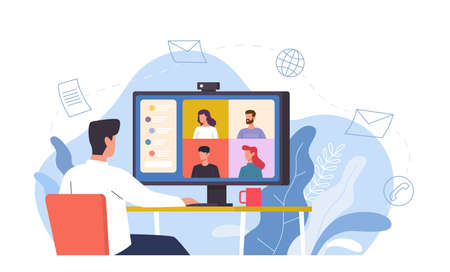 Video conference. Man at desk provides collective virtual meeting using computer, online chat remote work with video screen, discussion with friends or e-learning internet communication vector concept Ilustração Vetorial