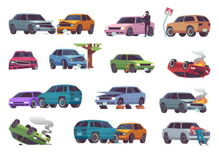 Car accident on road. Different vehicle accidents, damaged cars, auto crash with fire, traffic collision, insurance claim, broken and damage auto, drivers conflict flat cartoon isolated vector set