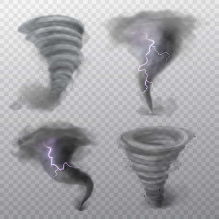 Tornado. Hurricane vortex with lightning, twister storm and thunderbolt. Whirlwind air funnel, strong wind swirl weather cyclone phenomenon 3d realistic vector set isolated on transparent background