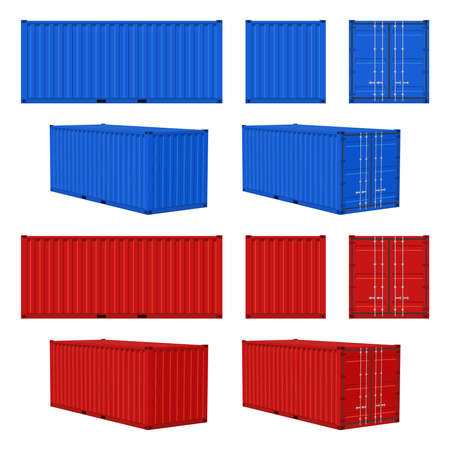 Cargo container. Blue, red closed cargo containers front, side and perspective view, transportation delivery freight, international logistic shipping industry vector realistic 3d isolated on white set