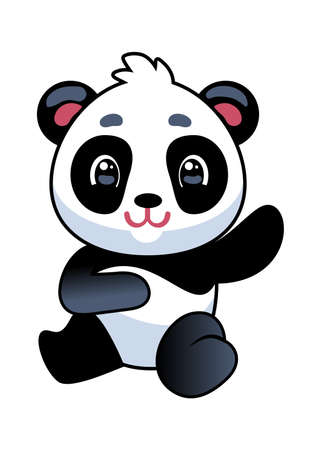 Panda. Cute asian adorable bear seating, china baby mascot, wildlife or zoo kawaii animal, simple icon or design, tropical black and white flat cartoon vector isolated character kids illustration