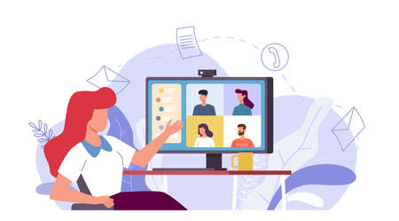 Online meeting. Woman talking with people group on monitor screen , video conference remote work with computer, virtual chat with friends or e-learning internet communication vector flat concept