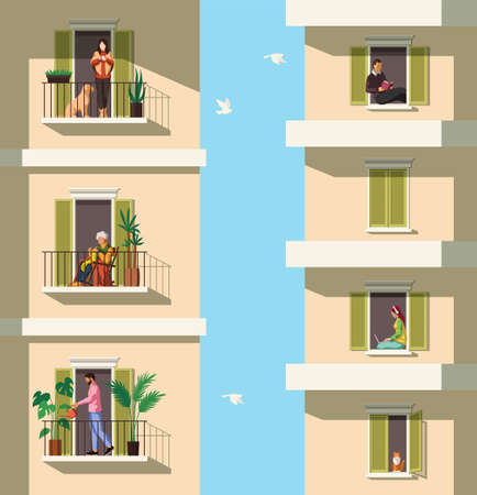 Neighbors on balconies. People rest with pets, reading, watering plant on balcony apartment building characters in flats quarantine period covid-19 pandemic, stay home concept flat vector illustration