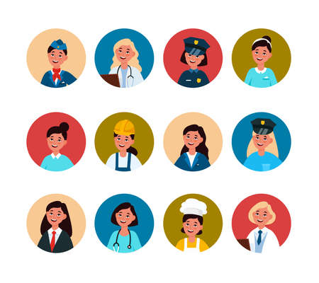 Women workers. Professional female avatar in uniform. Doctor, stewardess and chef, police and business woman, waiter, builder and teacher user profile circle portraits vector isolated colorful set