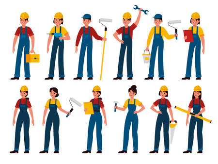 Builders. Men and women professional contractors, technician with toolbox, painter, carpenter and mechanic in uniform and helmet. Handyman with tools saw, hammer and paint roller flat vector character
