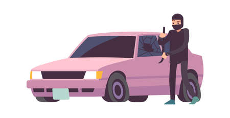 Car theft. Robbery banditry in black mask looting, take apart car, crime damage, destruction of another property, burglar remove wheels from vehicle, breaking into auto vector insurance flat concept