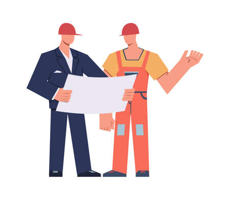 Engineers and builders. Master foreman with helmet on his head with diagram in hands and professional construction worker, building home and renovation house industry. Vector flat isolated characters