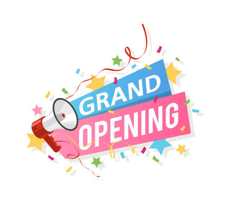 Grand opening banner. Promo flyer with megaphone, ribbons and confetti, big official open ceremony new beginning and startup sticker realistic colorful vector illustration isolated on white background