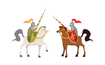 Two medieval knights. Brutal warriors on horse in steel shiny armor with shields battle, honor concept, illustration for child book fantasy character in traditional military costume flat vector people Ilustrace