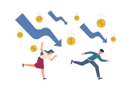 Finance crisis concept. Running depressed people falling arrows and gold coins, global economic money problem, bankruptcy unpaid loan debt, investment failure company startup collapse vector flat set