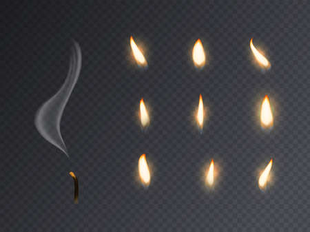 Candle fire flame. Realistic candlelight burning, extinguished with smoke 3d candles light and varios flames collection for animation picture, closeup vector set isolated on transparent background Ilustrace