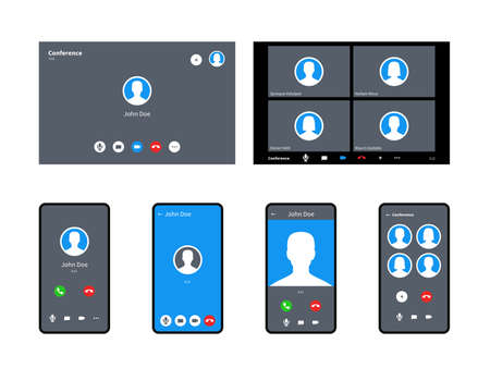 Call screen template. Incoming video calls accept and decline button anonymous avatar mobile, tablet computers or laptop interface display, calling chat conference computer vector realistic mockup set Ilustración de vector