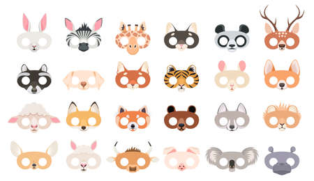 Animal mask set. Photo booth props of beasts face masks, wild zoo and domestic animals head for party masquerade, carnival birthday or halloween colorful accessories cartoon vector isolated collection