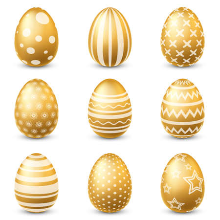 Golden easter eggs. Traditional festive gold egg with ornamental pattern, decorative luxury spring decoration element with glitter, holiday set for postcard poster and banners 3d vector isolated set