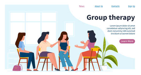 Women therapy. Psychologist consulting females group with psychology mental problems. Depression, burn out syndrome and stress, psychoanalysis session and coach consultation vector flat landing page Vector Illustratie